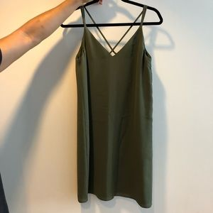 Topshop strappy dress in olive green